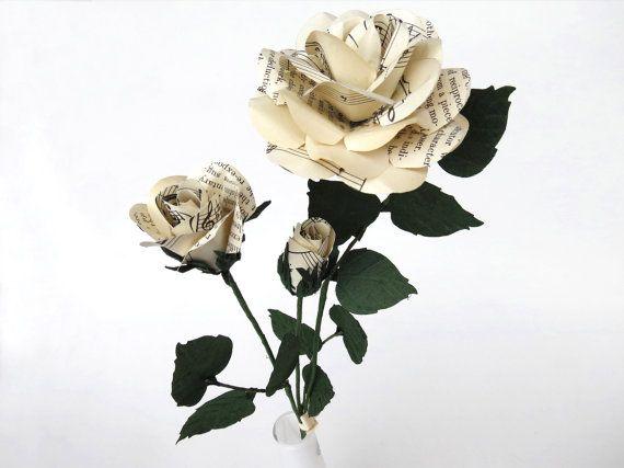 Paper Flowers 3 Eternal Roses with Vintage Music by CeeBeeRecycle