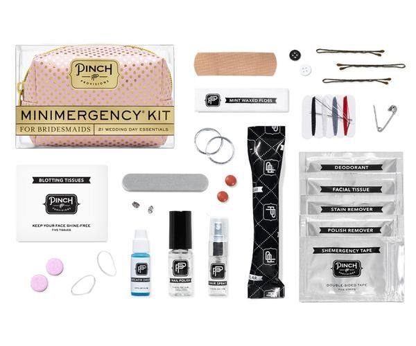 Keep the wedding party going with the Minimergency® Kit for Bridesmaids by Pinch Provisions®. This kit is chock-full of 21 little essentials to save you on your