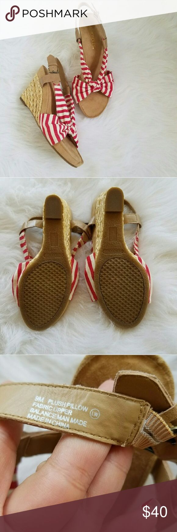Aerosoles Red Striped Strappy Wedge Heels Nautical red and white stripes . Cushioned . Wicker woven wedge . Stretchy ankle strap with buckle . Excellent condition, like new . True to size . #122804 AEROSOLES Shoes Wedges
