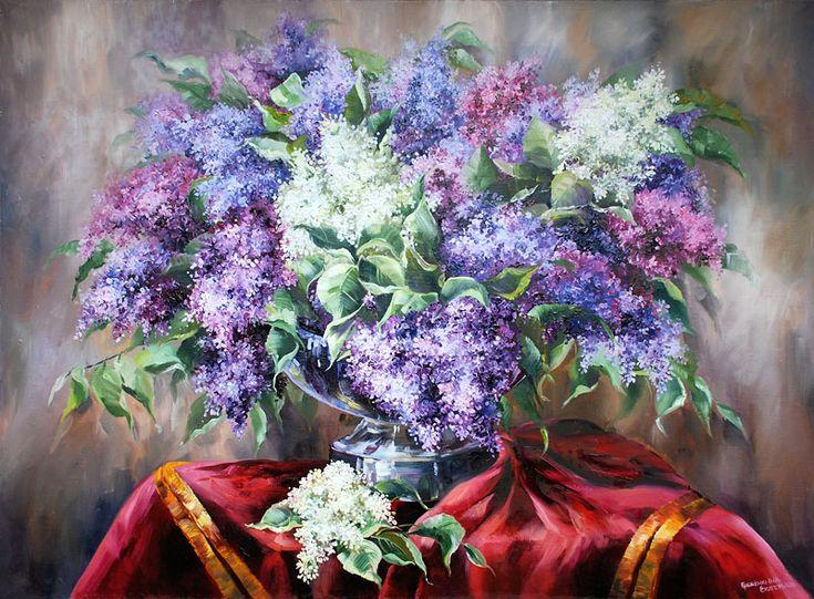 Картины - Цветы - Натюрморт с сиренью (Холст, масло)
