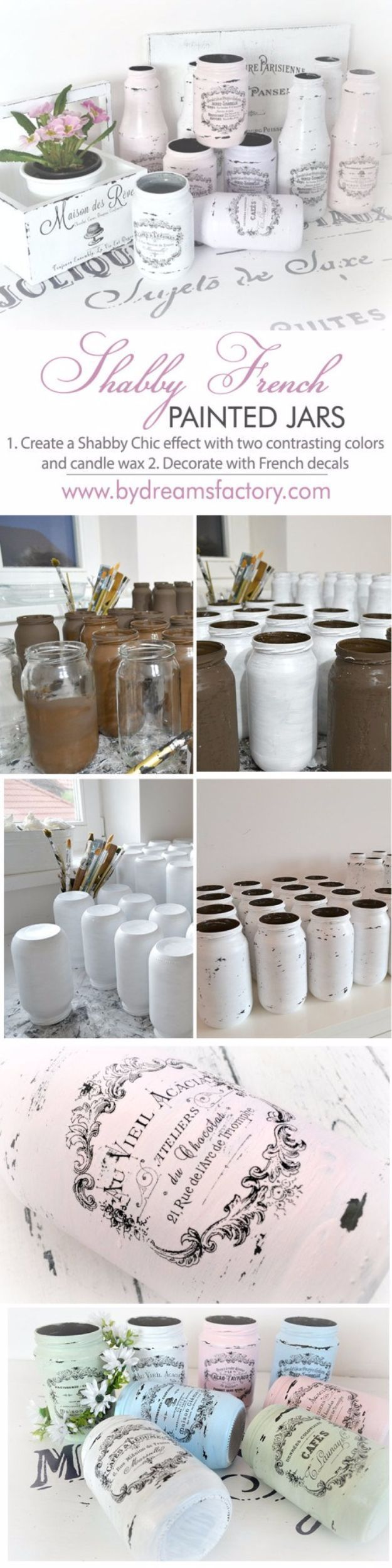 Shabby Chic Decor and Bedding Ideas - Shabby French Painted Jars - Rustic and Romantic Vintage Bedroom, Living Room and Kitchen Country Cottage Furniture and Home Decor Ideas. Step by Step Tutorials and Instructions http://diyjoy.com/diy-shabby-chic-decor-bedding #RomanticHomeDecor