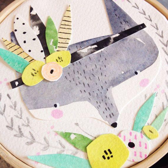 Pretty Fox Paper Art Wall Decor Gift Idea Nursery