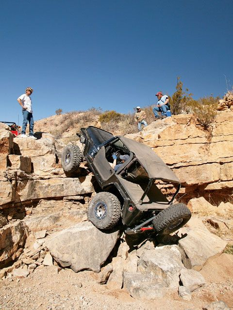 Rock climbing in a Jeep