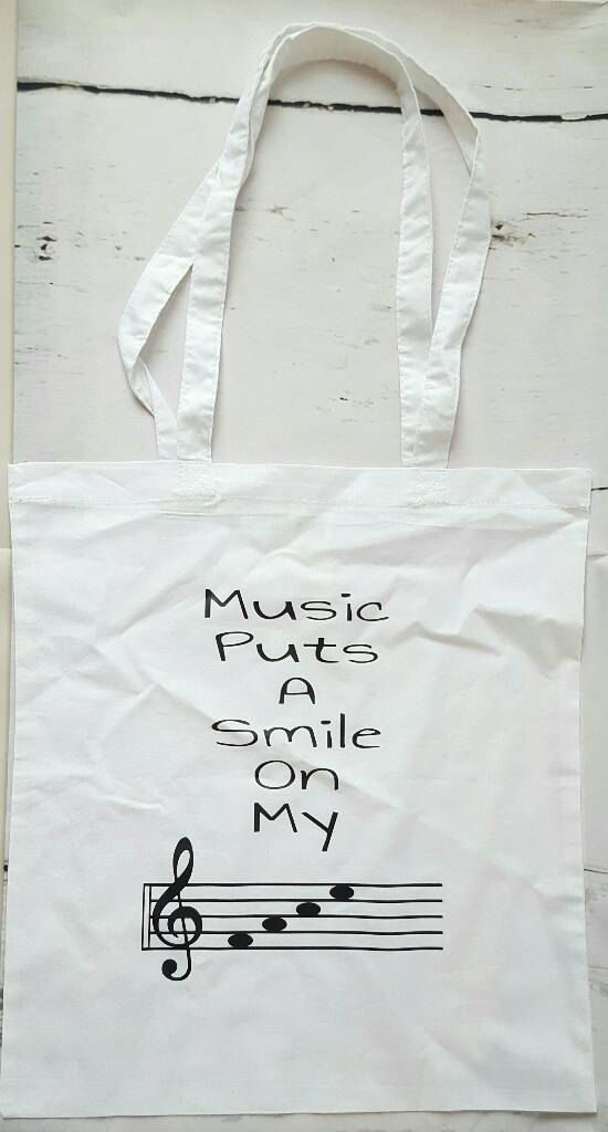 Music Puts a Smile on my Face Music Bag Music by SimplyEtchedLtd