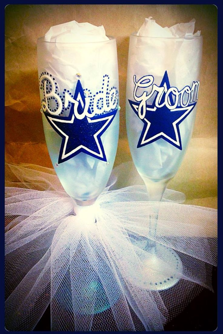 Dallas Cowboys Champagne Flutes ~ Sports Themed Wedding Toasting Glasses ~ Wedding Gift ~ Bridal Shower Gift ~ Dallas Cowboy Gift ~NFL  Team by WattsGoodArtistry on Etsy Custom Hand Painted Bridal Glassware by WattsGoodArtistry on ETSY! Follow WattsGood Artistry on Facebook: https://www.facebook.com/wattsgoodartistrydesigns
