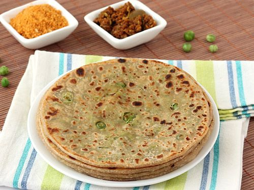 Matar Paratha - Stuffed Green Peas Paratha with Whole Wheat Flour - Vegetarian Breakfast - Easy Indian Food - Step by Step Photo Recipe