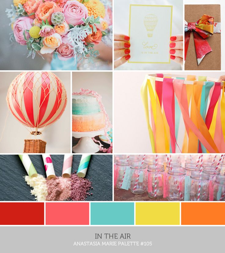 inspiration board: in the air #bright #red #coral #pink #turquoise #yellow #orange (see blog post for image credits)