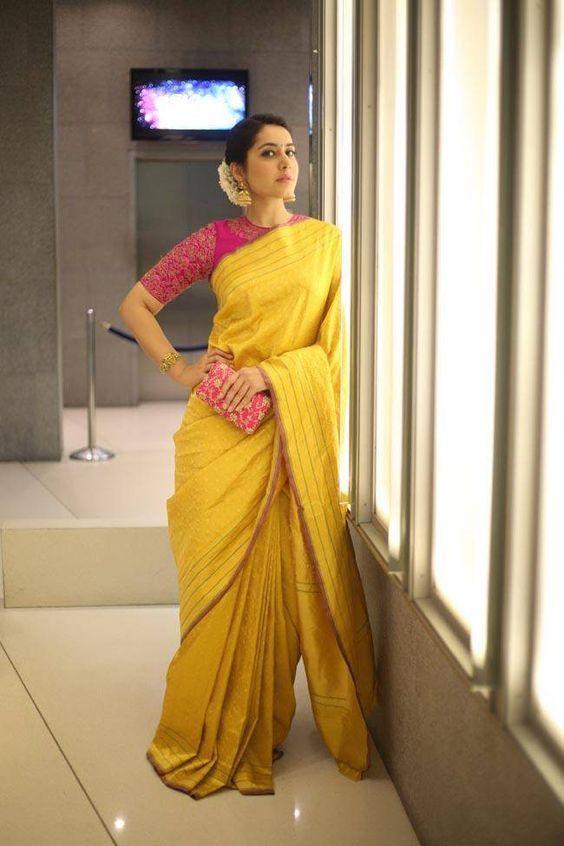 Rashi Khanna Smiling Stills In Yellow Saree At Director Krish MarriageRashi…