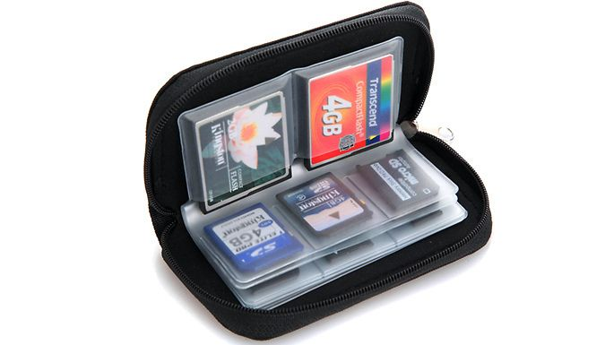 Buy Memory Card Carry Pouch for just £4.99 Carry case features 8 transparent leaves with space for up to 22 memory cards      18 slots for SD/ SDHC/ MMC/ XD/ Memory Stick Pro Duo/ MiniSD or MicroSD      4 slots for CF cards/ Smart Media/ MicroDrive or Nintendo DS Games      Made from a water-repellent/anti-static inner material      Stylish black colour means it won't look out of place in...