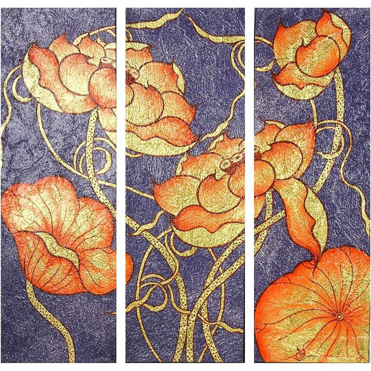 Glowing color conjures an exquisite scene of lotus blossoms that grow by moonlight in this triptych from Thailand. Illustrating Buddhist doctrine, Noppadon Kamkong adds gilded details on a set of three canvases.
