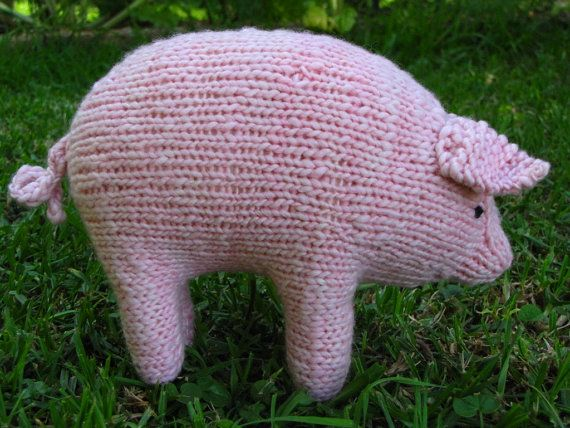 Petunia Pig Waldorf Hand Knitted Toy Amigurumi by mamma4earth, $25.00