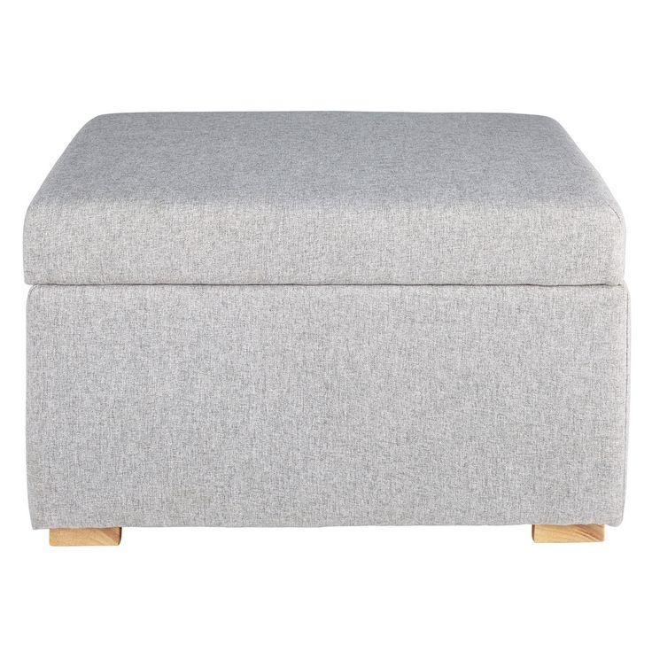 Pouf coffre en coton gris LENA