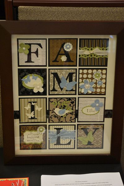 collage with  squares ... framed art piece ... big letters in boxes spell FAMILY ... scrapbook papers and punched elements ... two-step bird ... butterflies .... neutrals with pastel blue and green ... delightful!! ... Stampin' Up!