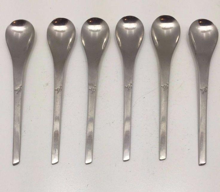 Rare Vintage Danish Modernist International Stainless Eastern Airlines 6 Spoons