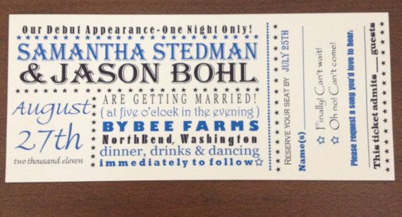 Custom Concert Ticket Wedding Invitation Wedding Pinterest - concert ticket birthday invitations