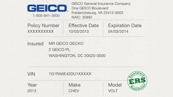 Car Insurance Cards Printable Car Insurance Card Templates Geico