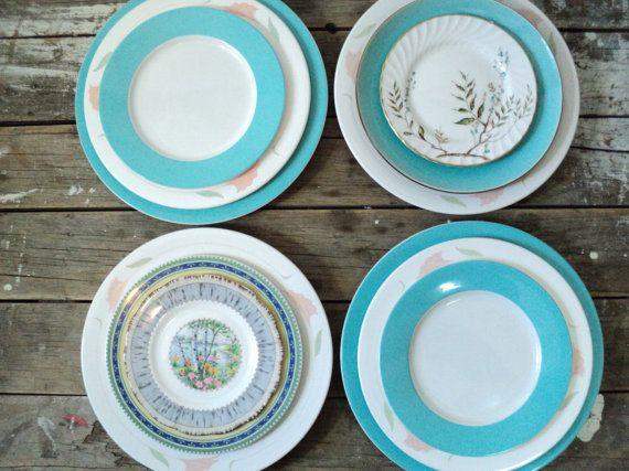 Turquoise and peach Dinner Plates Salad and by littlecleoathome