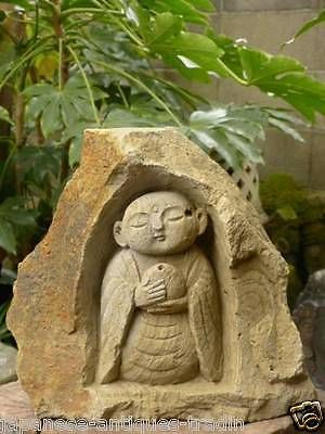 Japanese GEM Orb Garden Zen Monk Jizo Buddha Boddisatva Statue Stone  Sculpture
