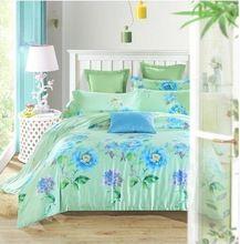 Benzersiz desen rütbe 100% ipek mavi mor yeşil çiçek 4 adet yatak seti yumuşak serin yorgan kapak çarşaf yastık kiti/3557(China (Mainland))