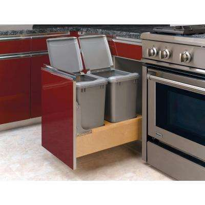19 in. H x 14 in. W x 22 in. D Double 35 Qt. Pull-Out Bottom Mount Wood Waste Container with Rev-A-Motion Slides