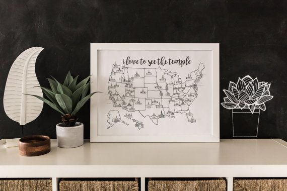 d e t a i l s :  This map is for you to mark what temples you have visited in whatever way you see fit. Watercolored, colored penciled, or leave it blank. However you want! Printed on a 80 lb. poster paper. Size 18x24. Frame is not included. The LDS temple map is updated and all the new temples are on there.  New temples: Star Valley Cedar City Meridian Tucson Fort Collins Hartford Philadelphia  s h i p p i n g :  Shipping is FREE! I will do my best to ship your map as soon as possible…