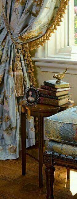 ≗ Feathered Nest of Hope ≗ bird feather & nest art jewelry & decor - elegant drapes and bird figurine on antique books