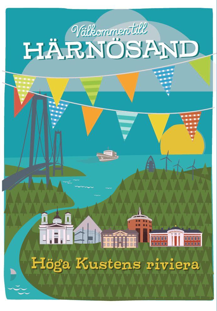 Postcard A5, Härnösand – the High Coast Riviera. Artist Pawel Maronski