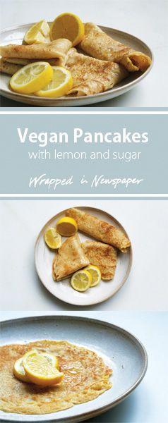 Vegan Pancakes with lemon and sugar | pancake day
