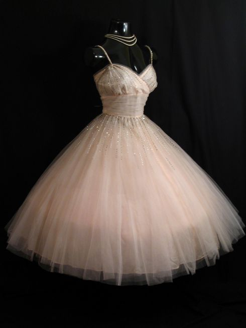 Vintage 50's Blush Pink Party Dress...tiny sequins around waist and bodice!