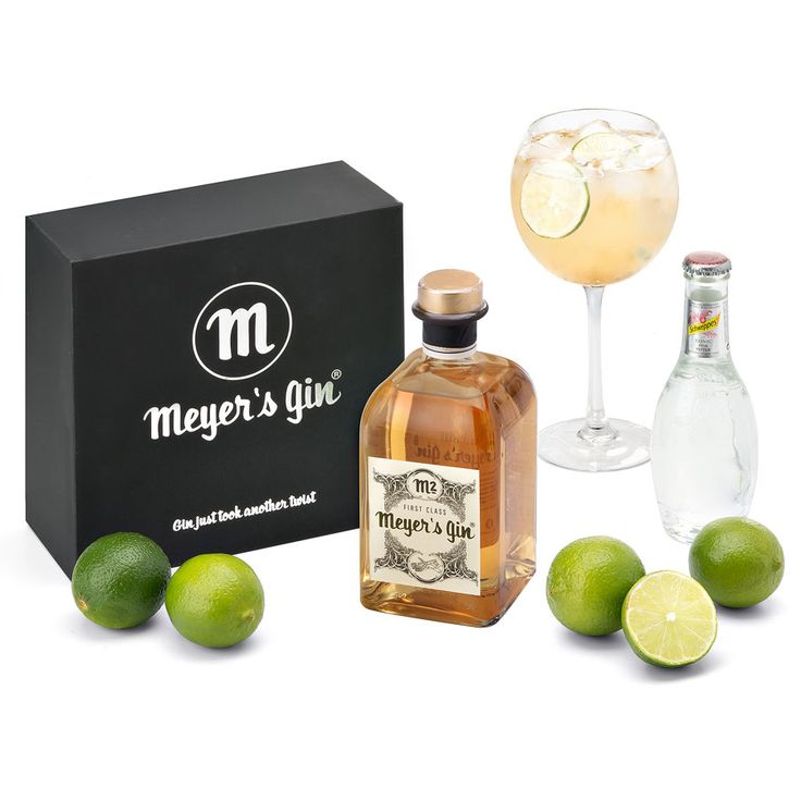 An elegant fine spirit gift set of Belgian Meyer's M2 gin with Schweppes Pink Pepper tonic water.