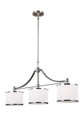 Murray Feiss   F3086/3SN/CH   Three Light Island Chandelier   Satin Nickel  / Chrome The Prospect Park Lighting Collection By Feiss Takes A Traditional  ...