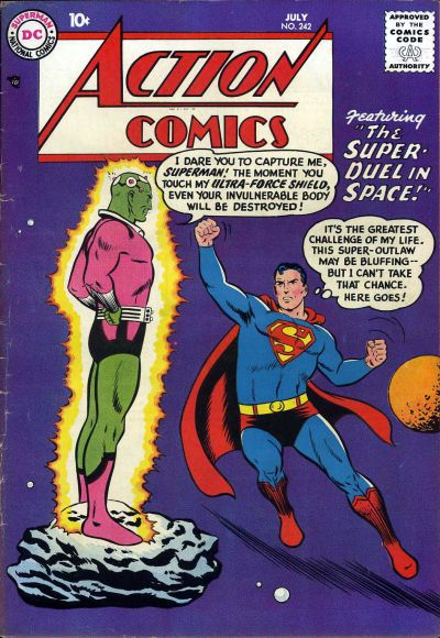 """Brainiac, created by Otto Binder and Al Plastino, first appeared in Action Comics #242, July 1958.  He has appeared in different forms due to the frequent continuity changes at DC.  He is most familiar as a humanoid type android in the Silver Age period. Known for his high intellect, """"Brainiac"""" has entered popular culture as a synonym for someone who is intelligent---though not always as a compliment.  Brainiac shrank the Kryptonian city of Kandor and has remained one of Superman's most…"""