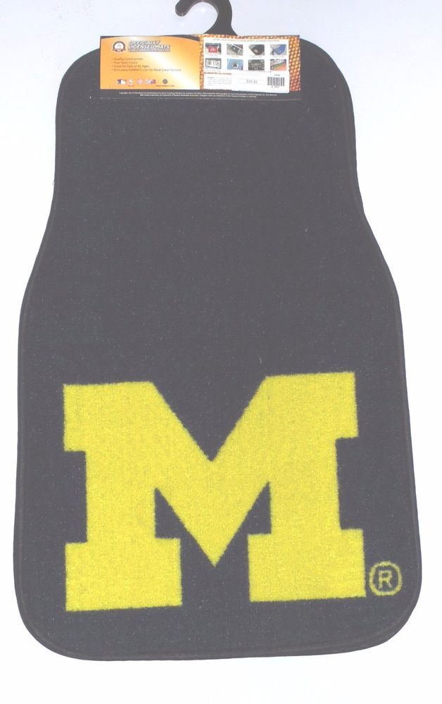 Michigan Wolverines 2 Piece Set Nylon Carpet Floor Mats Car Truck SUV Sports #MichiganWolverines