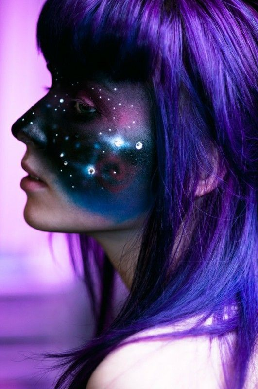 "Lost In Space. Makeup artist, Dina Day from Vancouver, Canada, utilizes airbrushing to get the effect of smooth blended colors. When this painting method is used on the body, it can appear like ""skintight"" clothing.  Does it appear like the model is wearing a galactic face mask? via http://www.kidsumers.ca/"