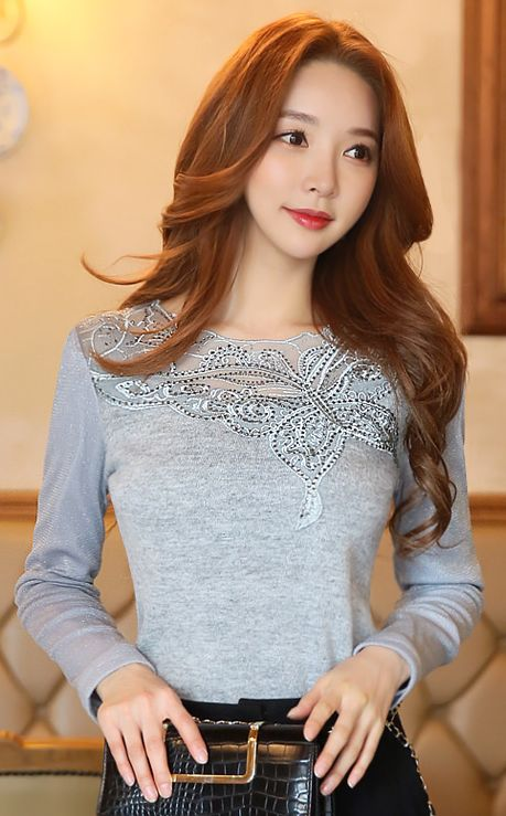 StyleOnme_Butterfly Embroidered Fleece-lined Mesh Knit Tee #gray #butterfly #mesh #knit #tee #koreanfashion #feminine #girlish #elegant #dailylook #seoul #kstyle #elegant #pretty