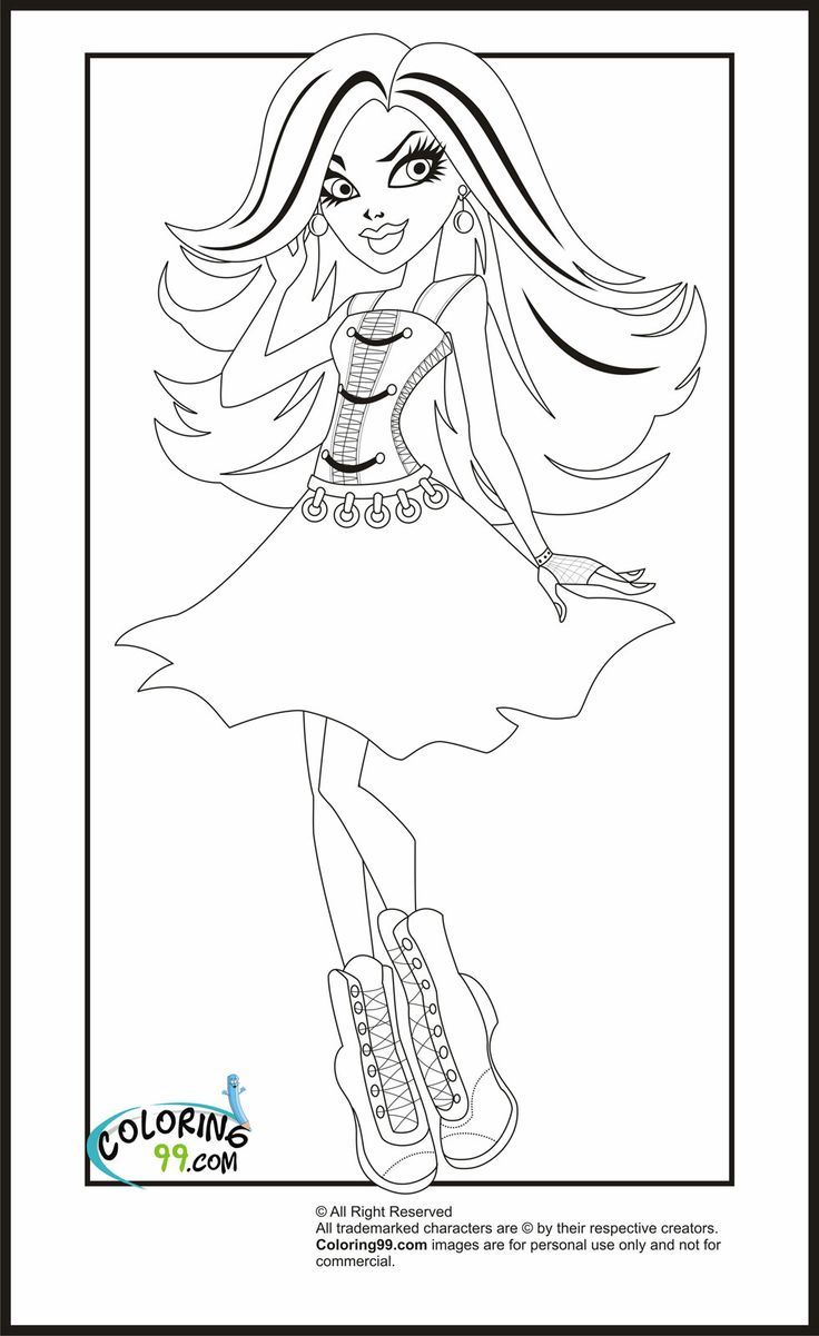 Monster high print out coloring pages just for kayle for Monster high coloring pages to print out