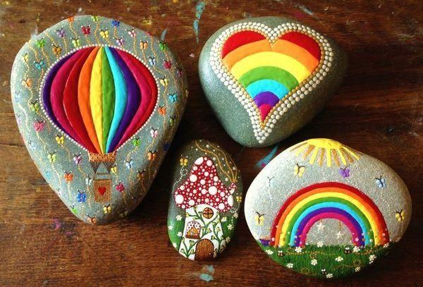 Piedras decoradas con acrílico