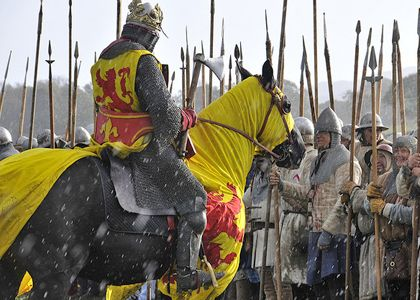 Re-enacting the Battle of Bannockburn. Legend has it that the Bruce met the Earl of Hereford's nephew, Henry de Bohun, in single combat on the first day, breaking his axe over his opponent's head.