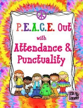 """Get groovy with promoting school wide attendance and punctuality. Editable kit includes fun posters, individual letters to spell out """"perfect attendance"""", themed spirit week, attendance themed team names, attendance/timeliness count posters for morning meetings, and class percentage goal posters!"""