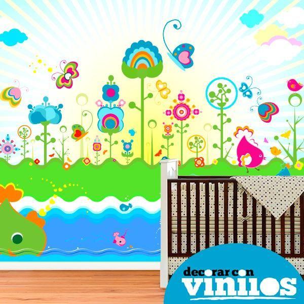 Mural decorativo infantil en vinilo de flores pintura de for Murales y vinilos infantiles