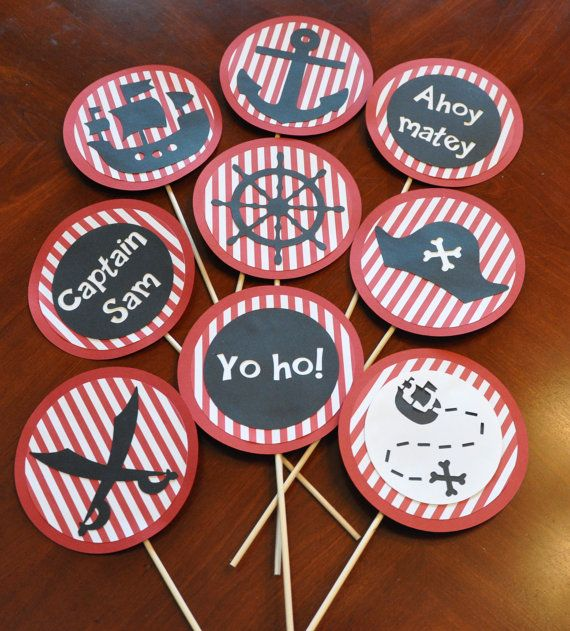 Pirate Birthday Party Decorations Set of 9 Pirate Party Centerpiece on Etsy, $28.00