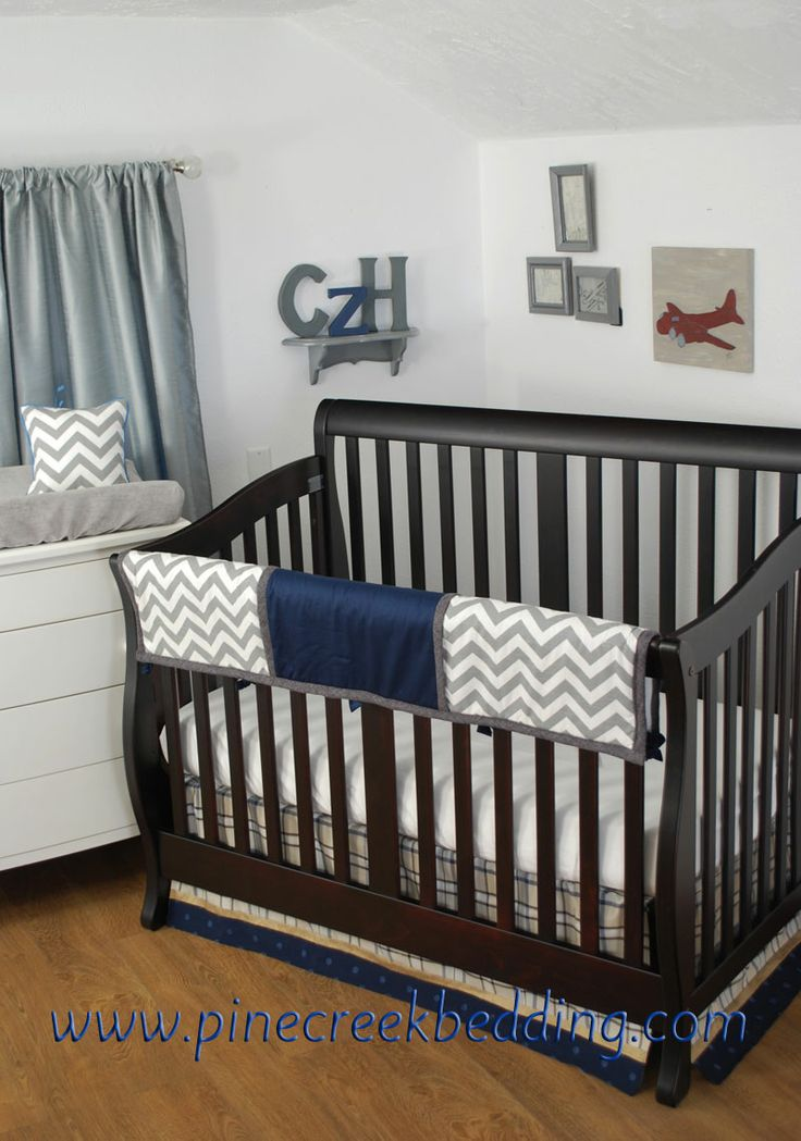 Grey Chevron With Navy On The Crib Rail Guard Grey Crib
