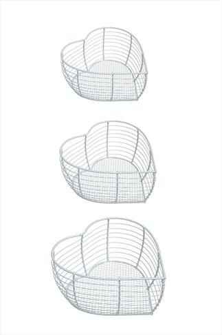 Set of 3 White Wire Baskets