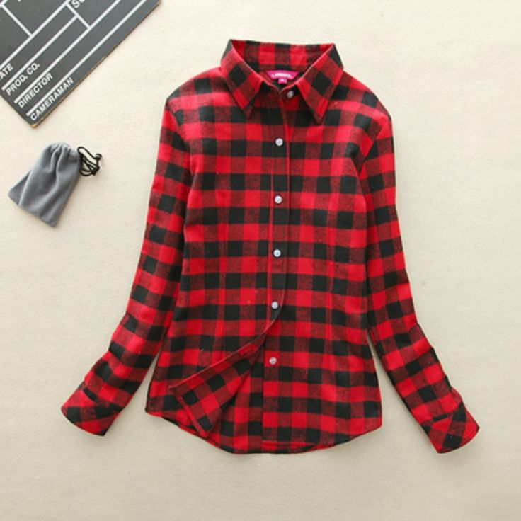 New Brand Plus Size Flannel Plaid Shirt 2017 Autumn Women Casual Cotton Long Sleeve Blouses Shirts Clothing Girl College Style