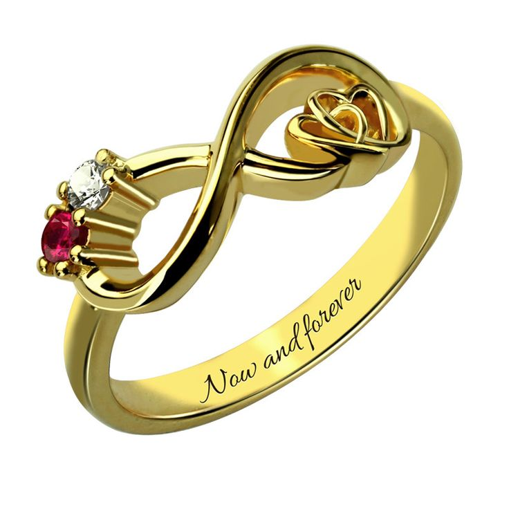 Two Stone Infinity Heart Gold Ring