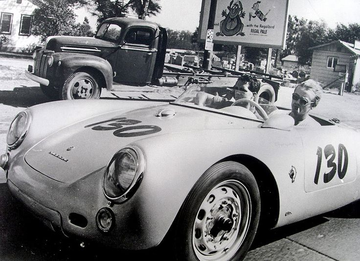 James dean in his porsche 550 spyder photographed by