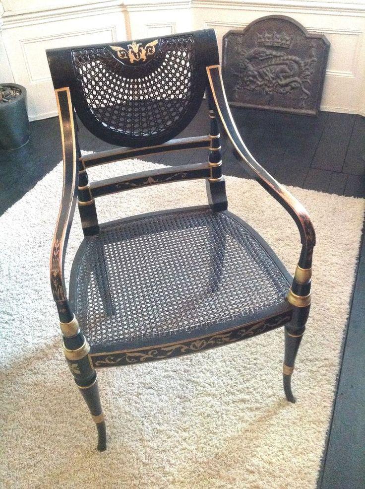 Large Klismos Regency Style Black & Gold Chair H37''x L24''x W21.5''