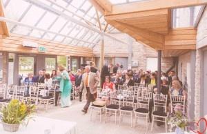 Beautiful glass atrium at Folly Farm Centre. Country wedding theme.