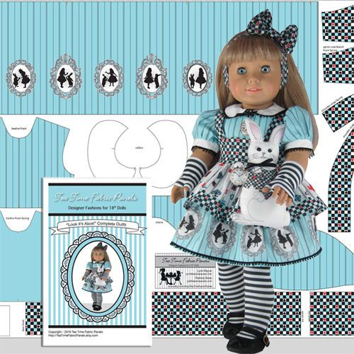 "18"" Doll Clothes Kit Alice Costume + White Rabbit American Made Doll Panel Kit #TeaTimeFabricPanels"