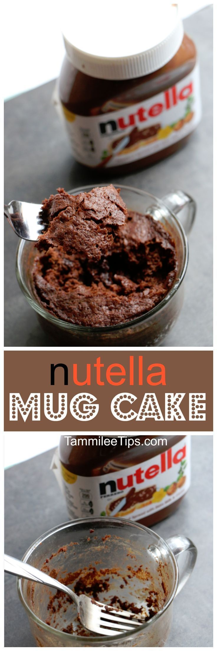 Super easy Nutella Mug Cake Recipe! Delicious in a mug desserts recipes make me happy! They are the perfect size for a sweet treat without the guilt of eating an entire cake.  via /tammileetips/